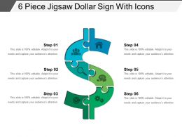6 Piece Jigsaw Dollar Sign With Icons