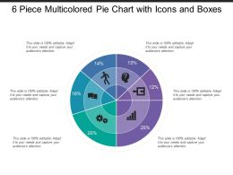 6 Piece Multicolored Pie Chart With Icons And Boxes