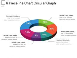 6 Piece Pie Chart Circular Graph Sample Ppt Presentation