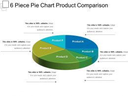 6 Piece Pie Chart Product Comparison Powerpoint Graphics