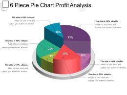 6 Piece Pie Chart Profit Analysis Powerpoint Ideas