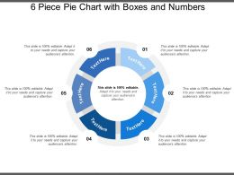 6 Piece Pie Chart With Boxes And Numbers