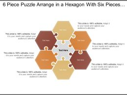 6 Piece Puzzle Arrange In A Hexagon With Six Pieces Around A Centre One