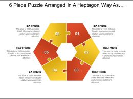 6 Piece Puzzle Arranged In A Heptagon Way As Seven Piece With Empty Centre