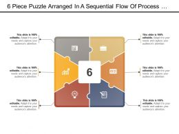6 Piece Puzzle Arranged In A Sequential Flow Of Process With Icon