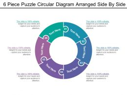 6 Piece Puzzle Circular Diagram Arranged Side By Side