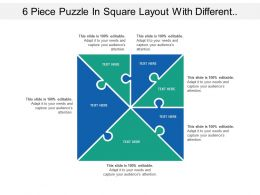 6 Piece Puzzle In Square Layout With Different Seven Section