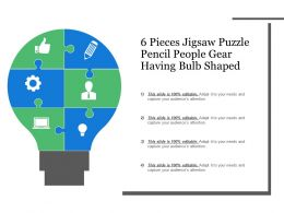 6 Pieces Jigsaw Puzzle Pencil People Gear Having Bulb Shaped