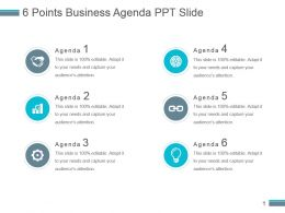 6 Points Business Agenda Ppt Slide