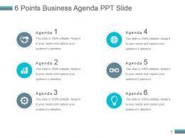 6 Points Business Agenda Ppt Slide
