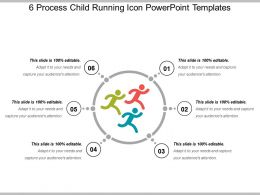 6 Process Child Running Icon PowerPoint Templates