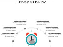 6 Process Of Clock Icon Ppt Slide Template
