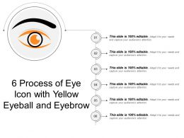 6 Process Of Eye Icon With Yellow Eyeball And Eyebrow