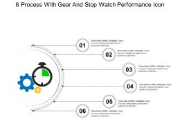 6 Process With Gear And Stop Watch Performance Icon
