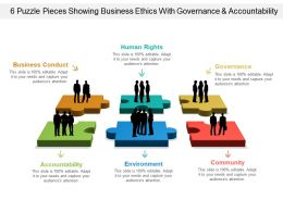 6 Puzzle Pieces Showing Business Ethics With Governance And Accountability