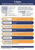 6 Sigma Project Proposal In One Page Summary Template Presentation Report Infographic PPT PDF Document