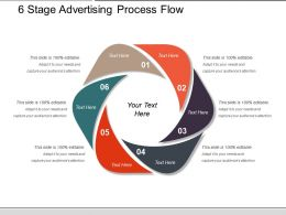 6 Stage Advertising Process Flow Powerpoint Slide Information