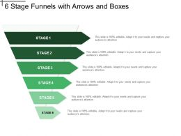 6 Stage Funnels With Arrows And Boxes