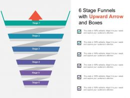 6 Stage Funnels With Upward Arrow And Boxes