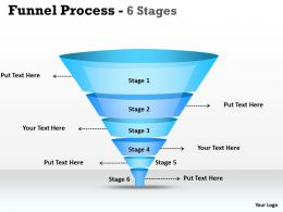 6 Staged Business Process Funnel Diagram