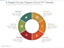 6 Staged Circular Diagram Donut Ppt Sample