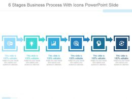 6 Stages Business Process With Icons Powerpoint Slide