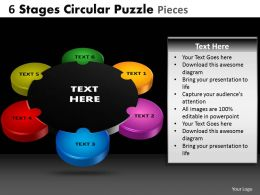 6 Stages Circular Puzzle pieces Powerpoint Slides And Ppt Templates DB