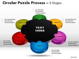 6 Stages Circular Puzzle Powerpoint Slides