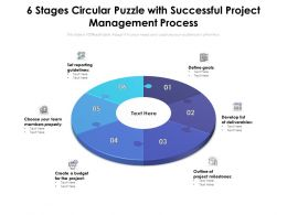 6 Stages Circular Puzzle With Successful Project Management Process