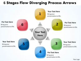 6 stages flow diverging process arrows circular layout diagram powerpoint slides