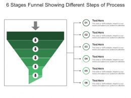 6 Stages Funnel Showing Different Steps Of Process