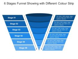 6 Stages Funnel Showing With Different Colour Strip
