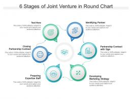 6 Stages Of Joint Venture In Round Chart