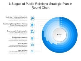 6 Stages Of Public Relations Strategic Plan In Round Chart