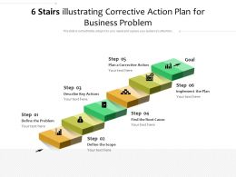 6 Stairs Illustrating Corrective Action Plan For Business Problem