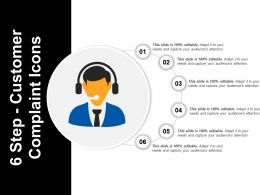 6 Step Customer Complaint Icons Powerpoint Shapes