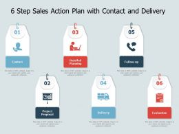 6 Step Sales Action Plan With Contact And Delivery