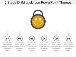 6 Steps Child Lock Icon Powerpoint Themes