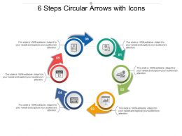 6 Steps Circular Arrows With Icons