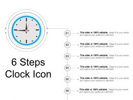 6 Steps Clock Icon Ppt Slide Templates