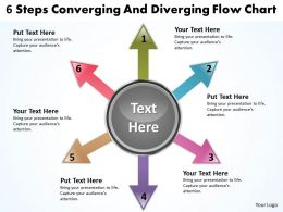 6 steps converging and diverging flow chart Circular Layout Diagram PowerPoint Slides