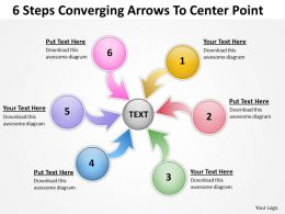 6 steps converging arrows to center point Process Software PowerPoint templates