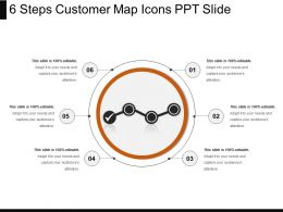 6 Steps Customer Map Icons Ppt Slide