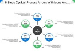 6 Steps Cyclical Process Arrows With Icons And Textboxes