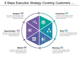 6 Steps Executive Strategy Covering Customers Team Planning Market Opportunities And Analysis