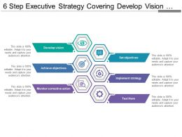 6 Steps Executive Strategy Covering Develop Vision Objectives And Implement Strategy