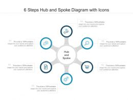 6 Steps Hub And Spoke Diagram With Icons
