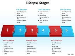6 steps interconnected blocks slides presentation diagrams templates powerpoint info graphics