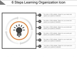 6 Steps Learning Organization Icon Powerpoint Layout
