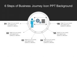 6 Steps Of Business Journey Icon Ppt Background